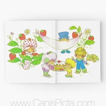 Strawberry Shortcake Hardcover Journal Notebook Vintage Inspired Sketchbook Paper Book Blank Graph Sketch Book SSC Pupcake Puppy Cat Kitten