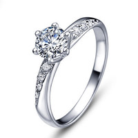 Sterling Silver Crystal Ring Band Wedding Engagement Love Jewelry Women Fashion