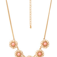 FOREVER 21 Regal Faux Pearl Cluster Necklace Pink/Gold One