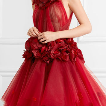 Marchesa - Appliquéd tiered dégradé tulle gown