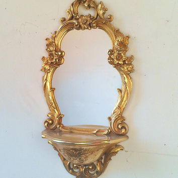 Vintage Syroco Mirror with Shelf in Distressed Gold