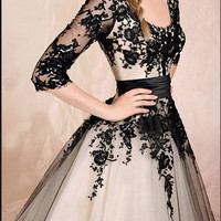 long sleeve lace dress, black lace dress, prom dress, tea length dress, RE010
