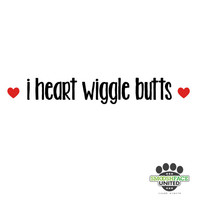 The best dog decal ever! 'I heart wiggle butts' sticker in white and red vinyl - perfect for dog gift idea