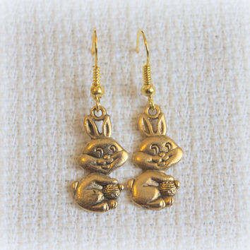 Easter Jewelry, Easter Bunny Earrings, Antique Silver Jewelry, Antique Gold Earrings, CHOOSE, Lightweight and Comfortable