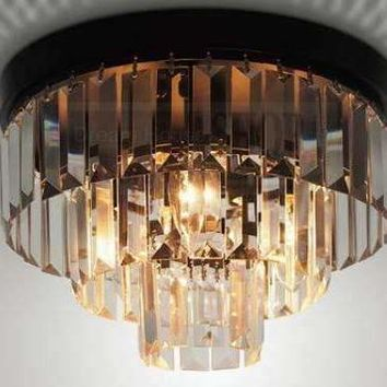 Oden round K9 crystal chandeliers 3-lights vintage E14 diameter 300mmX220mm 3-rings K9 glass ceiling lamp