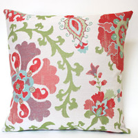 Pillow Cover with Large Red, Purple andTurquoise Flowers