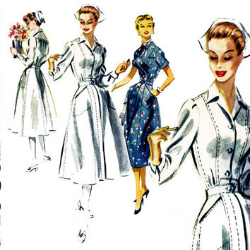 1950s Nurse Uniform Pattern Bust 32 McCalls 3419 Nurse Ratched Front Button Shirtwaist Hospital Day Dress Womens Vintage Sewing Patterns
