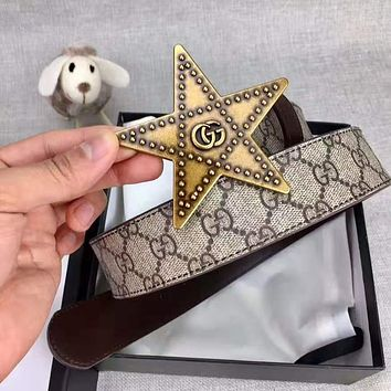 GUCCI Newest Fashion Women Men Chic Five-Pointed Star Buckle Leather Belt Width 3.8 CM With Box