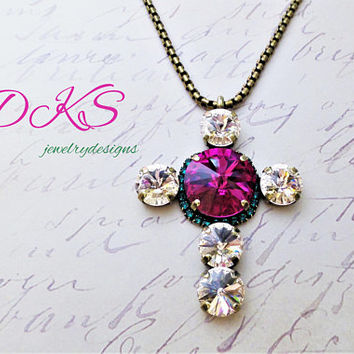 I Believe, Swarovski Cross Pendant, Antique Gold, Fuchsia, Halo Crystal, Faith, Meaning, Religious, DKSJewelrydesigns, FREE SHIPPING