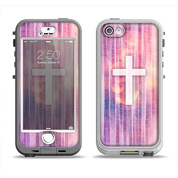 The Vector White Cross v2 over Vibrant Fading Purple Fabric Streaks Apple iPhone 5-5s LifeProof Nuud Case Skin Set