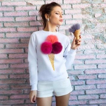 2016 New Women Autumn Sweatshirts Long Sleeve O-neck Fluffy Ice Cream Cherry Design Pullovers Casual Funny Girls Shirts KP#350