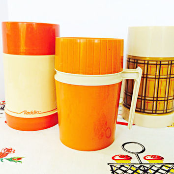 Thermos Aladdin Set of 3 Instant Collection Orange and Plaid Vintage Kitchen Retro Camping