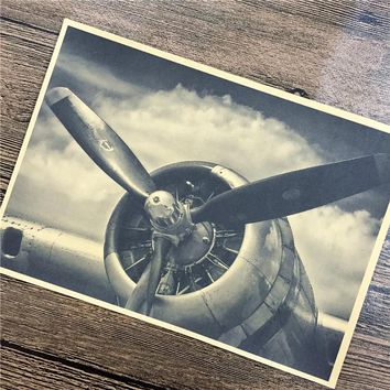 Retro World War II fighter Airplane propeller Movie posters vintage Kraft Paper Paint Wall Art Crafts Sticker 42x30cm ZIP-B035