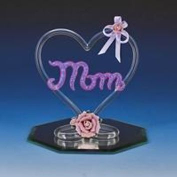 Hand Made Glass Heart holding MOM and pink porcelain roses.
