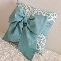 "Teal Bow Throw - Accent Pillow - 12"" x 12"" - Made Upon Order - by pillowsbycindee at etsy"