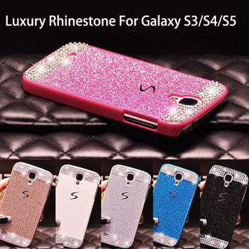 Glitter powder rhinestone bling luxury diamond clear crystal hard back cover For Samsung Galaxy S5 S4 S3 Sparkling Case Cover
