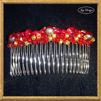 CEYENNE a Handmade Beaded 4 inch Metal Hair Comb Stunning Bronze Toned Pearl Red Iridescent Beads Red Iridescent Beads with Gold Centers