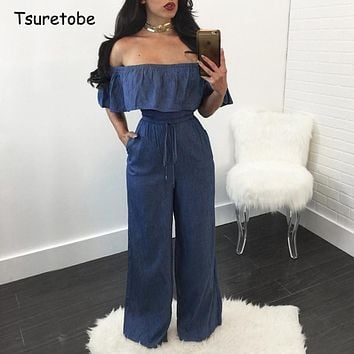 Tsuretobe Women Denim Summer Jumpsuit Ruffles Slim Fit Rompers Women Jumpsuit Strapless Off Shoulder Backless Sexy Jumpsuits