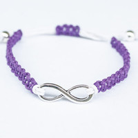 Infinity Bracelet Purple and White Hemp Friendship Adjustable Bracelet