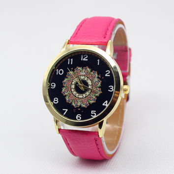Sunflower Print Leather Watch