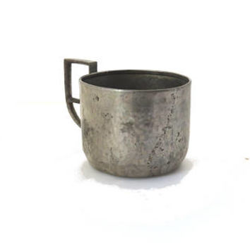 Vintage  silver plated  hammered copper podstakannik. Silver tea glass holder.