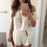 Off Shoulder Lace Stitching Elastic Waist Jumpsuit