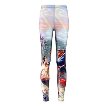 Plus size Summer leggings 2015 Women Hot Leggings Digital Print Popular Beauty and the Beast Fitness Sexy LEGGING Drop Ship