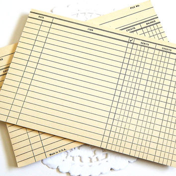 Vintage File Cards. Office Supply. Accounting. Ledger. Junk Journal Paper. Scrapbook Ephemera. Planner Insert. Mixed Media. Time Card. Notes