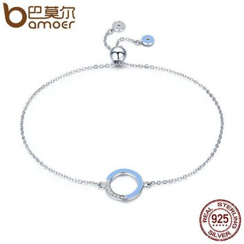 BAMOER Genuine 100% 925 Sterling Silver Fashion Round Circle Light Blue Enamel Chain Link Bracelet Women Luxury Jewelry SCB041