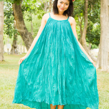 Plus Size Maxi Dress - Boho Dress, Turquoise Dress, Maternity Dress,Hippie Dress, Tunic Dress, Big Size, Plus Size Clothing, Strap Dress
