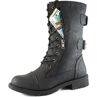 DailyShoes Women's Military Lace Up Buckle Combat Boots Mid Knee High Exclusive Credit Card Pocket, Twlight Black