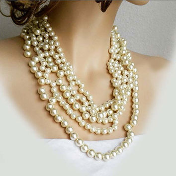 Chunky Statement Pearl Necklace, Wedding Necklace, Bridal Necklace, Multi Strand Pearl Necklace, Bridal Jewelry