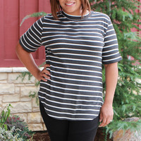 Won't Be Shaken Striped Rubbed Tunic With Roll Tab Sleeves ~ Charcoal ~ Sizes 12-18