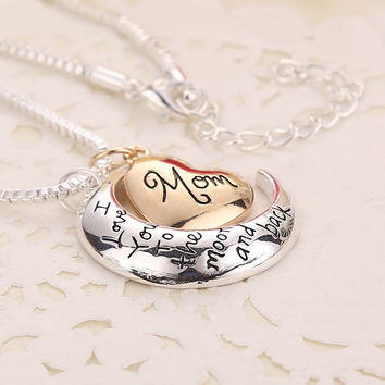 Free: I Love My Mom to The Moon & Back Necklace Pendant