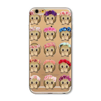 Apple iPhone 6 Plus 6s Plus Funny Monkey Emoji Clear TPU Silicon Back Cover Case