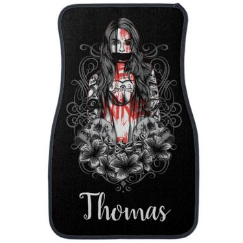 Personalized Skulls Woman Tattoo Car Floor Mat