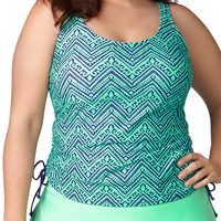 Plus Size - Chevron Print Tankini Swim Top With Cinched Sides - Blue/Green