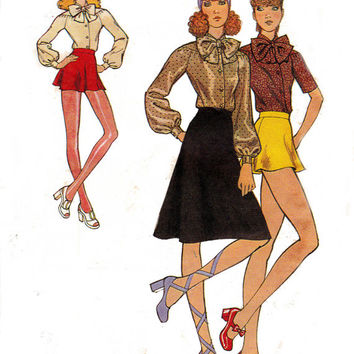 SASSY 70s High Waist Skirt Shorts Tie Blouse Vintage Sewing Pattern Size 8 Bust 31 1/2 inches