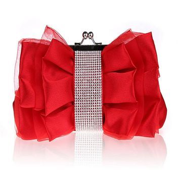 Luxury Red Clutch Women Designer bowknot Hand Bags Fashion Evening Bag white Elegance Lady Party Bag Silk Wedding Products WY43