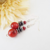 Red Jade Earrings, Red Gray Earrings, Hematite Earrings, Red Crystal Earrings, Brick Red Earrings, Red Stone Earrings, Fire Jade Earrings