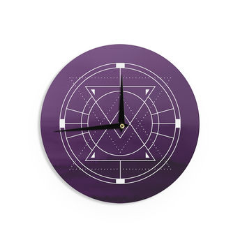 "Matt Eklund ""Mystic City"" Purple Digital Wall Clock"