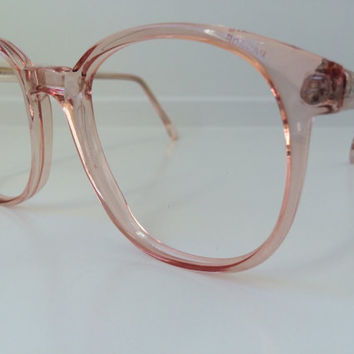 Vintage Pink Eyeglass Frames - Oversized Eyeglasses - Pink Peach Clear Glasses - Clear Lens Demo Lenses - Deadstock NOS 48