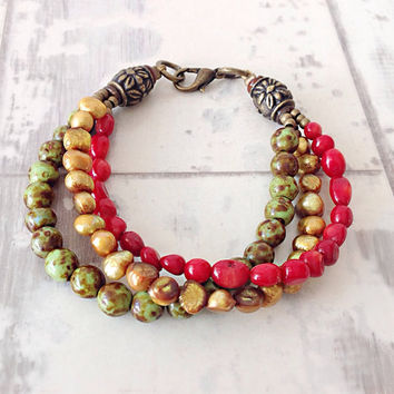 fall bracelet, multistrand bracelet, beaded bracelet set, autumn bracelet, natural bead bracelet, boho bracelet, green red gold,