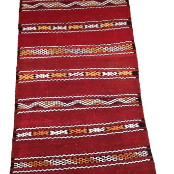 Moroccan Flat Weave Kilim Rug - Hand Woven Zemmour in Red Wool - 44 x 22 inches