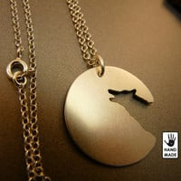 Lone Wolf sterling silver pendant on a sterling silver chain, handmade