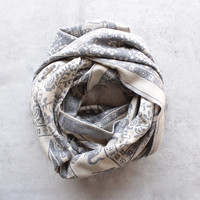 bali elephant print reversible knit scarf - grey