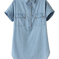 Blue Pocket Detailed Short Sleeve Denim Blouse