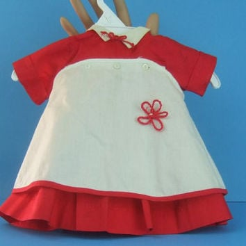 1950s Vintage Red Doll Dress / Petite Fashions Debutante / Pinafore / Apron Rare Find