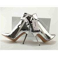 Pointed Toe Silver Zippered Boots