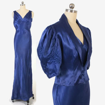 Vintage 30s EVENING GOWN / 1930s Blue Satin Bias Cut Slip Dress with Puff Sleeve Bolero Jjacket S - M